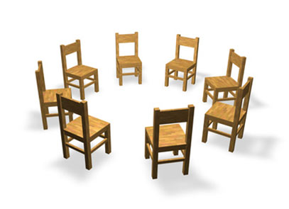 Wooden chairs in a circle